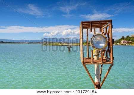 Airport Light, Emerald Sea Water And Blue Sea. Corfu International Airport. Corfu Island, Greece.