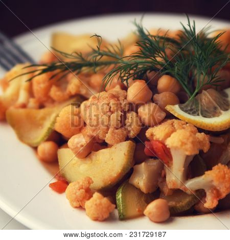 Vegetable Stew With Chickpeas, Cauliflower And Cabbages. Organic Food. Vegan Dish. European Cuisine.