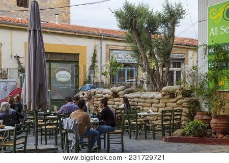 26 Of May 2016. Cyprus. Nicosia - The Divided  Capital.  Cafe On The Border Of The Southern And Nort