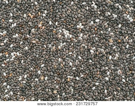 Chia Seeds Background. Copy Space. Top View Or Flat Lay. Healthy Food And Diet Concept