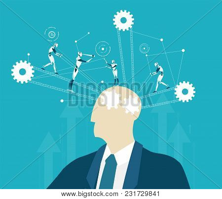 Abstract Thinking Businessmen And Future Nanotechnology Controlling Thinking Process. Making Decisio