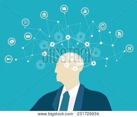 Abstract thinking Businessmen. Making decision, controlling and supporting idea.