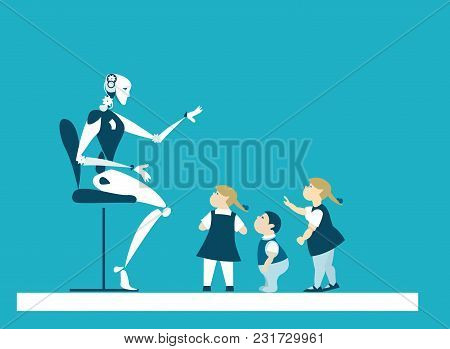 Robot babysitter, teaching the group of little children in classroom. Robot teacher. Future reality