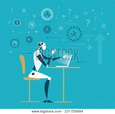Robot Working At The Desk, Humans Vs Robots. Artificial Intellect