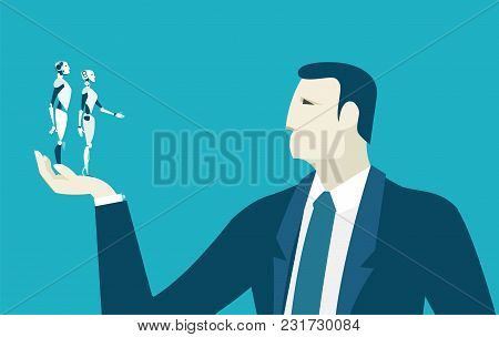 Businessmen holding and looking at mini robots. Innovation and making decision concept illustration