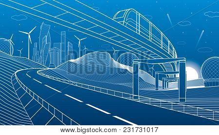 Monorail In Mountains. City Highway. Transportation Illustration. Tower And Skyscrapers, Modern Town