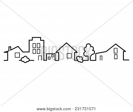 Houses One Line. Simple Vector Illustration. Black-and-white Picture.