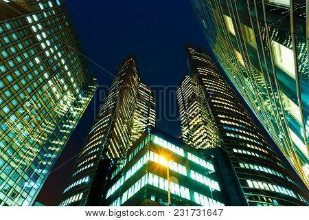 Illuminated Office Buildings In Paris Business District La Defense. Night City Lights, Skyscrapers G