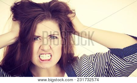 Problem Expressions Concept. Irritable Attractive Woman Having Angry Wrathful Frustrated Face Expres