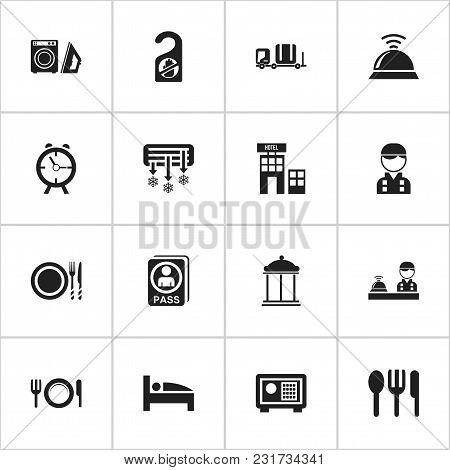 Set Of 16 Editable Motel Icons. Includes Symbols Such As Air Conditioning, Entry, Passport And More.