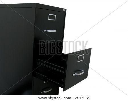 Black Filing Cabinet With Empty Drawer At An Angle
