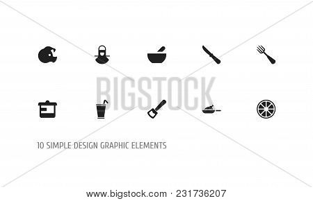Set Of 10 Editable Meal Icons. Includes Symbols Such As Rocker Blade, Silverware, Orange And More. C