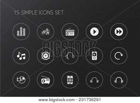 Set Of 15 Editable Music Icons. Includes Symbols Such As Headsets, Compact Disk, Rewind And More. Ca