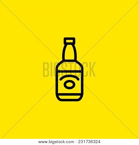 Icon Of Whiskey. Liqueur, Bottle, Hard Liquor. Whiskey And Bar Concept. Can Be Used For Topics Like