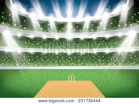 Cricket Stadium with Spotlights.