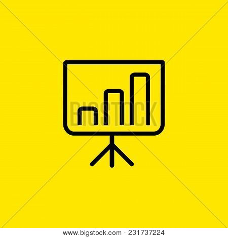 Icon Of Business Presentation. Graph, Financial Report, Projection Screen. Seminar Concept. Can Be U