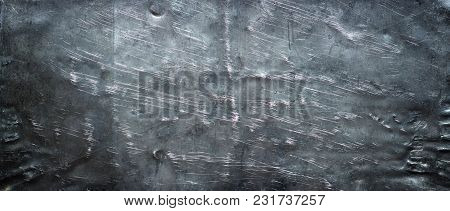 Panorama Of Black Iron. Metal Texture With Dents Scratches
