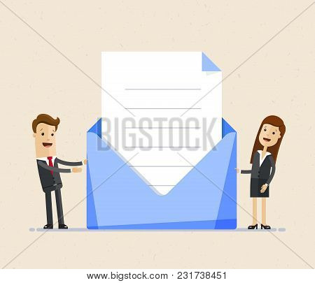 Bsiness Man And Business Woman Standing With Big Envelop And Letter, Invintation. Post Letter, Deliv