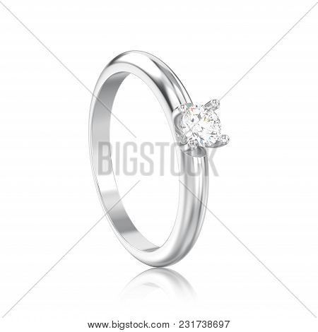 3d Illustration Isolated White Gold Or Silver Traditional Solitaire Engagement Diamond Ring With Ref
