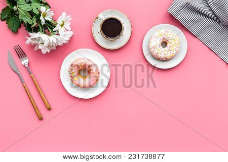 Breakfast With Coffee, Donuts And Flowers On Pink Table Background Top View Mockup