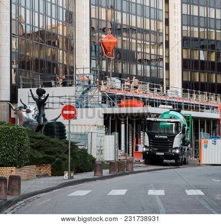 Strasbourg, France - Mar 5, 2018: Modern Scania G410 Cement Truck At The Reconstruction Site Of The