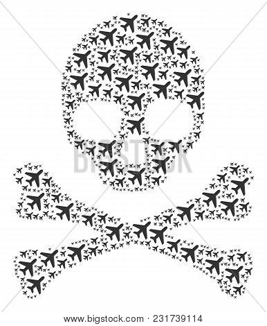 Skull Mosaic Composed Of Air Plane Pictograms. Vector Air Plane Icons Are Composed Into Geometric Ho