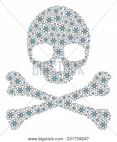 Skull Composition Made Of Atom Elements. Vector Atom Icons Are United Into Mosaic Skeleton Compositi