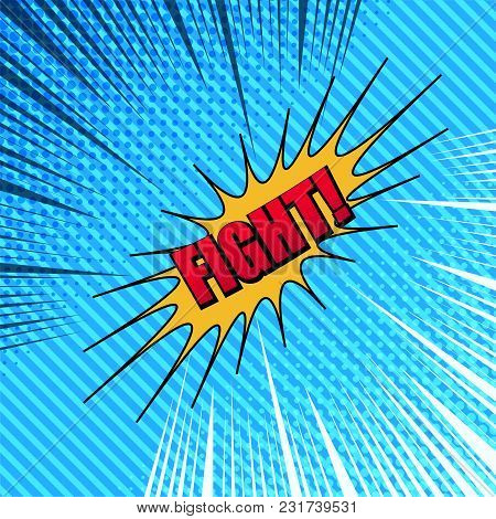Comic Fight Template With Two Opposite Dark And Light Sides, Red Inscription, Yellow Speech Bubble,