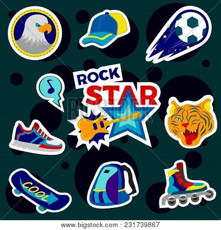 Fashion Patch Badges With Backpack, Rollers, Ball, Baseball Cap, Board, Skateboard And Other. Very L