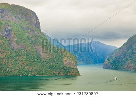 Tourism And Travel. Scenic Nature Landscape. View To Picturesque Aurlandfjord And Sognefjord From St