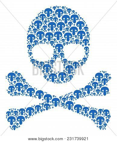 Skull Collage Created Of Champignon Mushroom Pictograms. Vector Champignon Mushroom Pictograms Are U