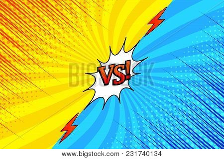 Comic Versus Bright Background With Two Opposite Yellow And Blue Sides, Red Inscription, Lightnings,