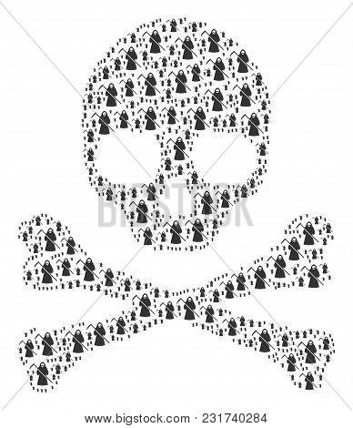 Death Collage Done Of Death Scytheman Pictograms. Vector Death Scytheman Items Are Organized Into Mo
