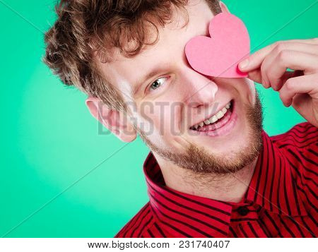 Love And Help From People. Charming Lovely Man With Red Paper Heart Persuade To Be Good Helpful Hope