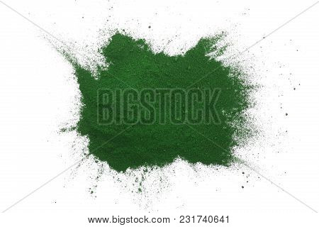 Spirulina Algae Powder Isolated On White Background. Top View.