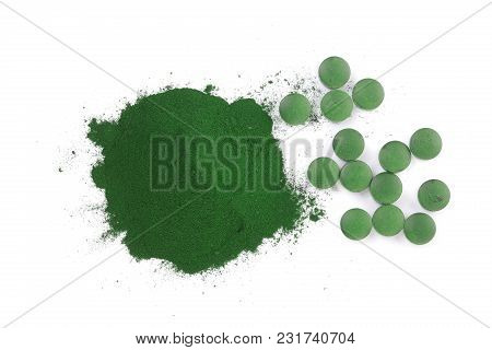 Spirulina Algae Powder And Pills Isolated On White Background. Top View.