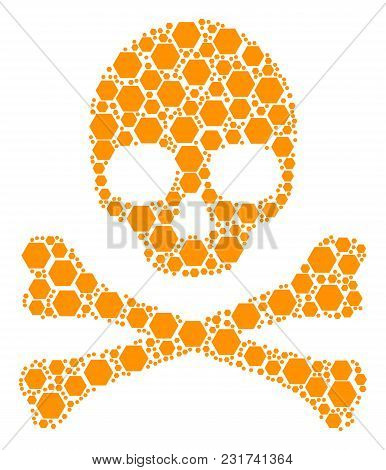 Skull Composition Organized Of Filled Hexagon Pictograms. Vector Filled Hexagon Icons Are United Int