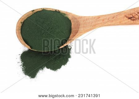 Spirulina Algae Powder In Wooden Spoon Isolated On White Background. Top View.