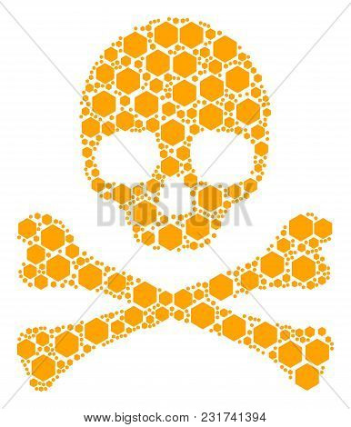 Death Concept Composed Of Filled Hexagon Design Elements. Vector Filled Hexagon Items Are Composed I