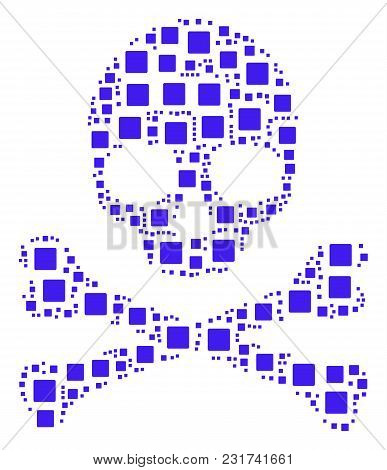 Skull Collage Constructed Of Filled Square Pictograms. Vector Filled Square Design Elements Are Orga