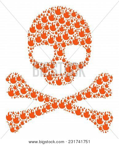 Skull Pattern Organized Of Fire Flame Icons. Vector Fire Flame Items Are United Into Geometric Dead
