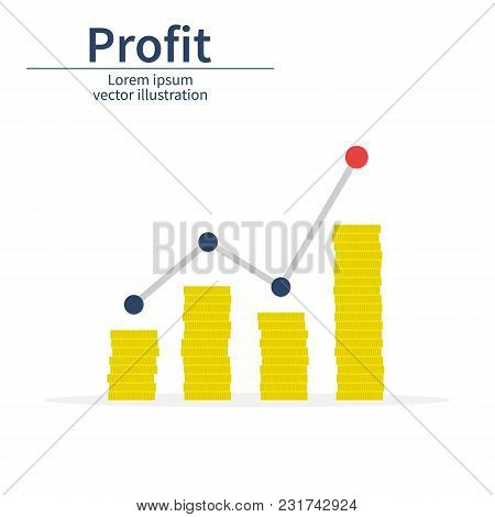 Profit Or Financial Growth Concept. A Stack Of Coins Up Arrow. Profit Graph In Flat Style. Business