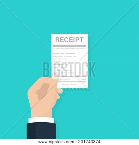 Hand Holding Blank Receipt, Isolated On White Background, Vector Illustration