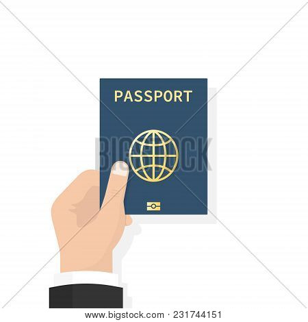 Passport In Hand. Man Holds In His Hand The Document. Personal Identification. Passport For Travel A