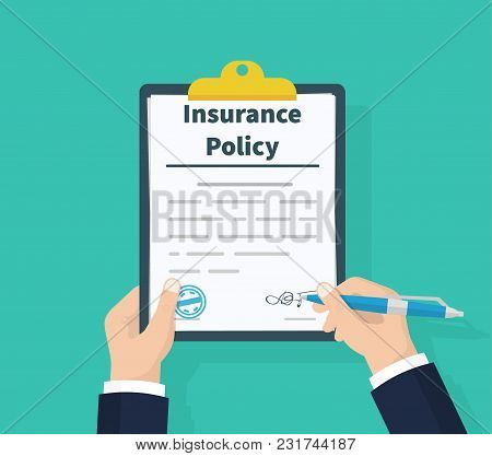 Insurance Policy. Holding Clipboard In Hand. Man Signature Form. Claim Form. Document Protection Pro