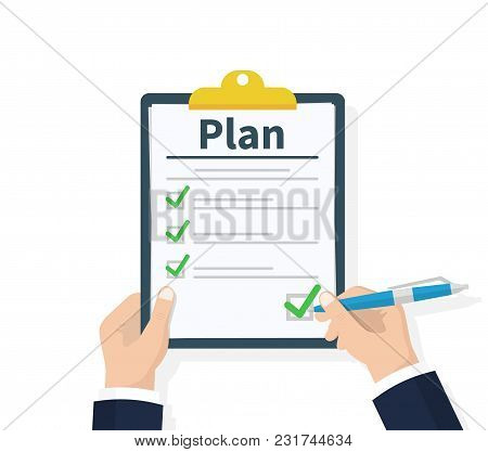 Planning Clipboard. Business Tactic. Clipboard With Checklist And Pencil. Plan To Achieve Goal. Flat