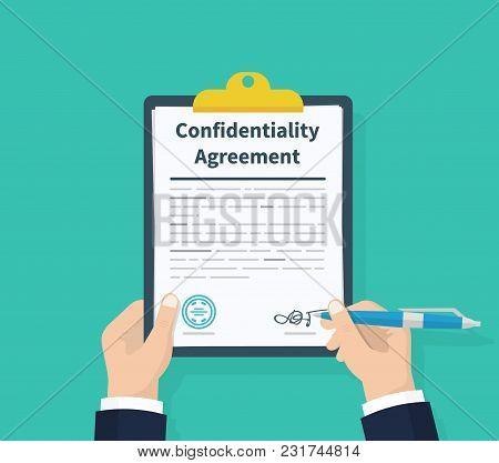Confidentiality Agreement. Man Hold Information Consent. Pen In Hand Signing Papers. Clipboard With