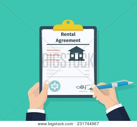 Man Hold Rental Agreement Form Contract. Clipboard In Hand. Signing Document. Flat Design, Vector Il