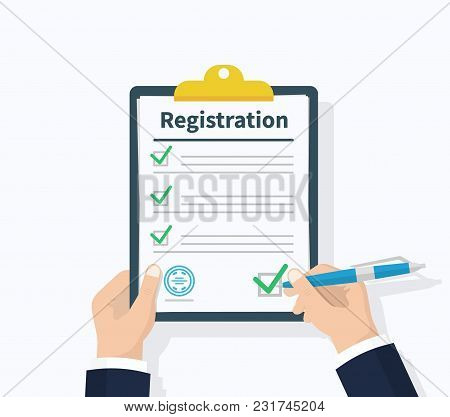 Man Hold Registration Clipboard With Checklist. Man Hold In Hand Clipboard Agreement. Flat Design, V