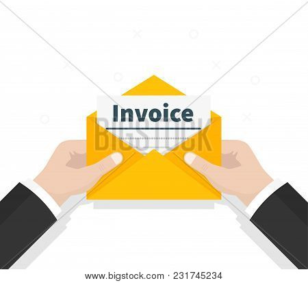 Man Hold In Hand Invoice In Envelope. Email Message. The Official Document Is Received In The Mail.